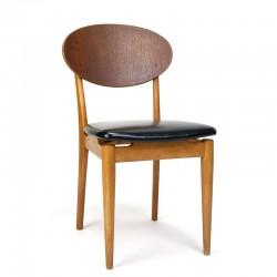 Vintage Deense stoel met grote teakhouten rugleuning