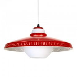 Vintage glazen hanglamp met rood metalen details