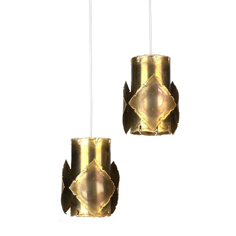 Set of vintage brutalist Danish hanging lamps design by Holm