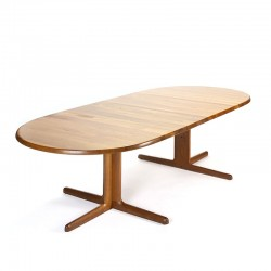 Large oval vintage dining table in teak on a star base