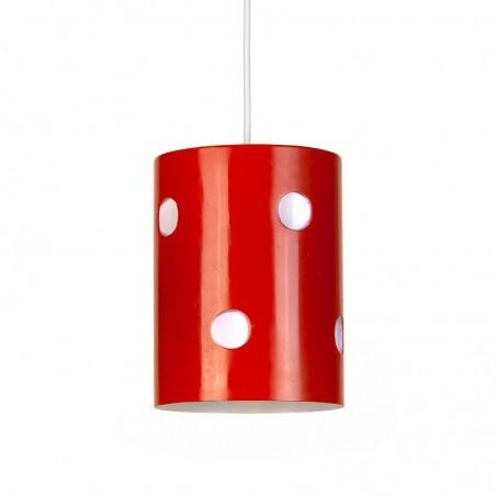 Vintage metalen hanglamp oranje met witte stip
