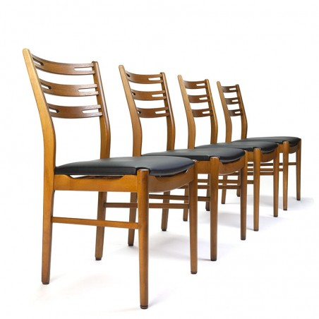 Set of 4 vintage teak Farstrup chairs with high back