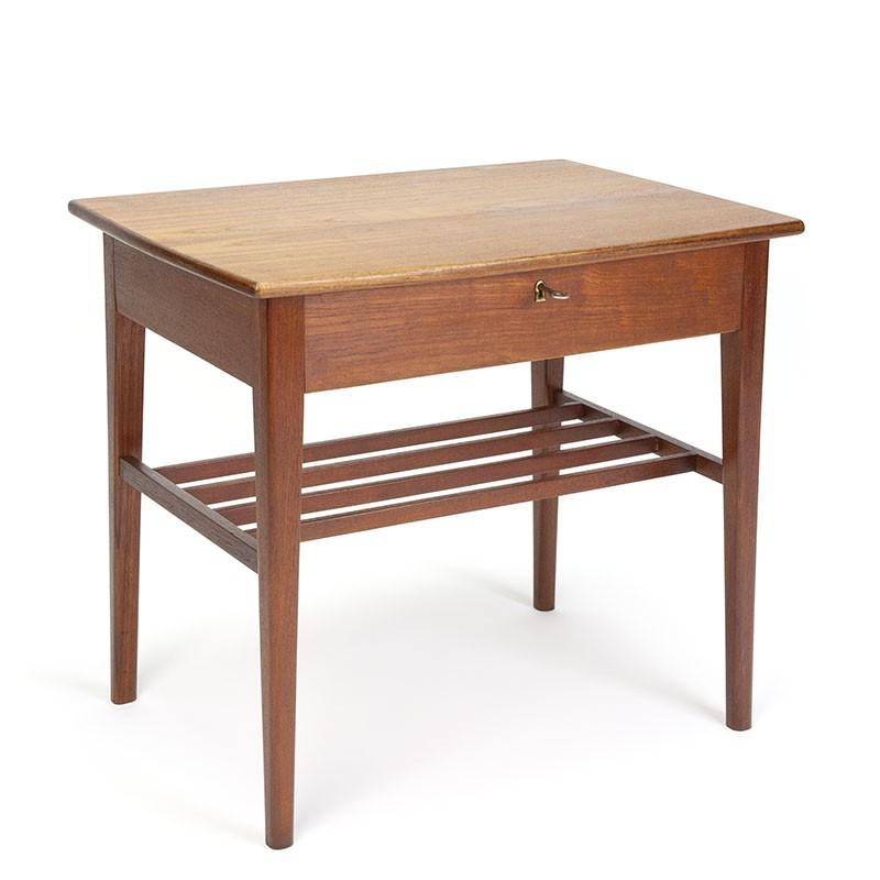 Teak vintage Danish side table with lid