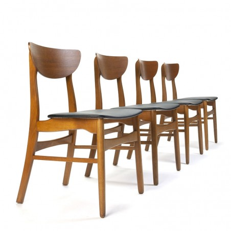 Set of vintage Farstrup chairs with spacious backrest in teak