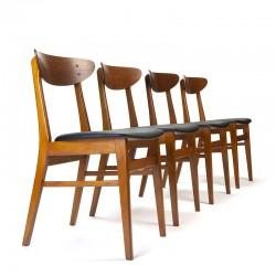 Farstrup model 210 set van 4 vintage eettafel stoelen