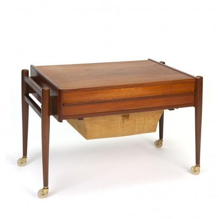 Vintage sewing kit table on wheels Danish design