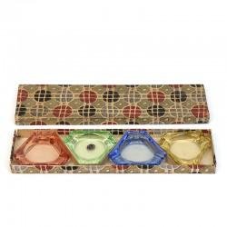 Set van 4 glazen asbakjes in origineel jaren 50 doosje