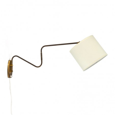 Danish vintage brass wall lamp from the fifties