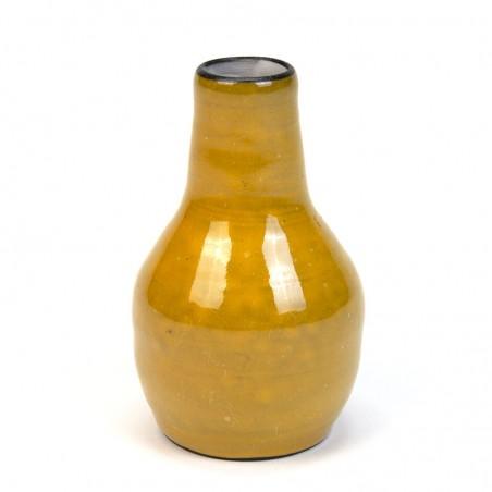 Yellow earthenware small vintage vase
