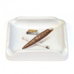 Aardewerken vintage asbak met sigaar/ sigaret
