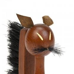 Danish vintage teak small brush cat