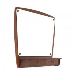 Teak vintage Danish mirror with 2 drawers
