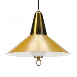 Danish vintage yellow / brass hanging lamp