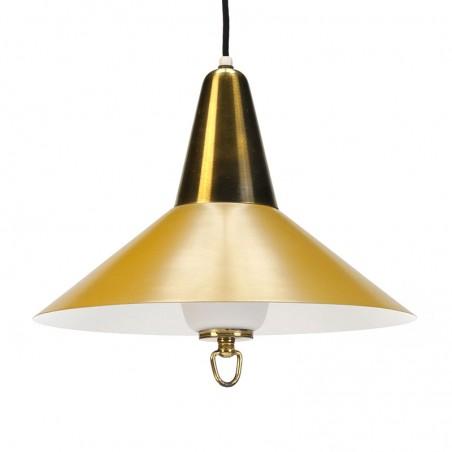 Deense vintage geel/ messing hanglamp