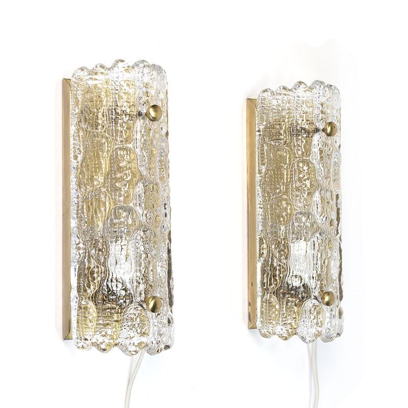 Zweedse vintage set wandlampen ontwerp Carl Fagerlund voor