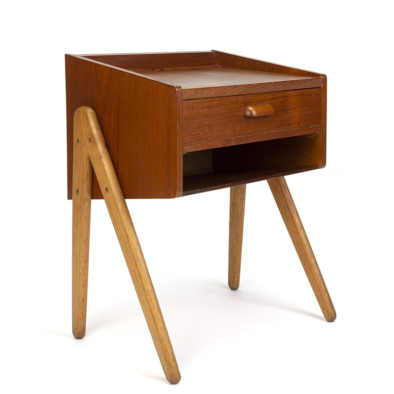 Teak vintage Danish bedside table with oak base