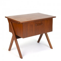 Vintage teak Danish sewing kit cabinet