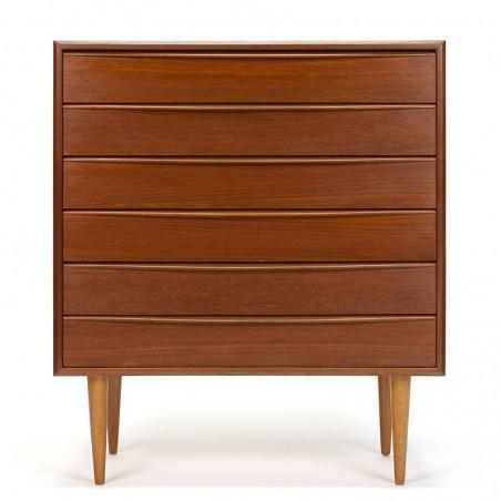 Danish sleek model vintage chest of drawers in teak