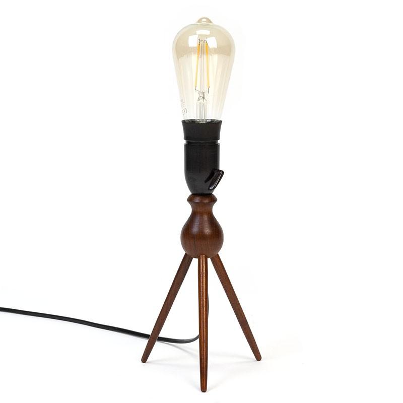 Danish teak vintage 3-legged table lamp