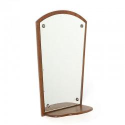 Small vintage Danish mirror with shelf in teak