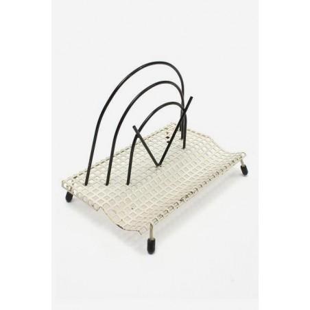 Mail holder 1950's white/ black perforated