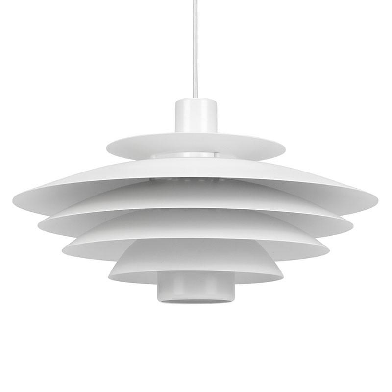 Danish metal vintage hanging lamp in white