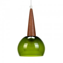 Green glass vintage hanging lamp with teak detail