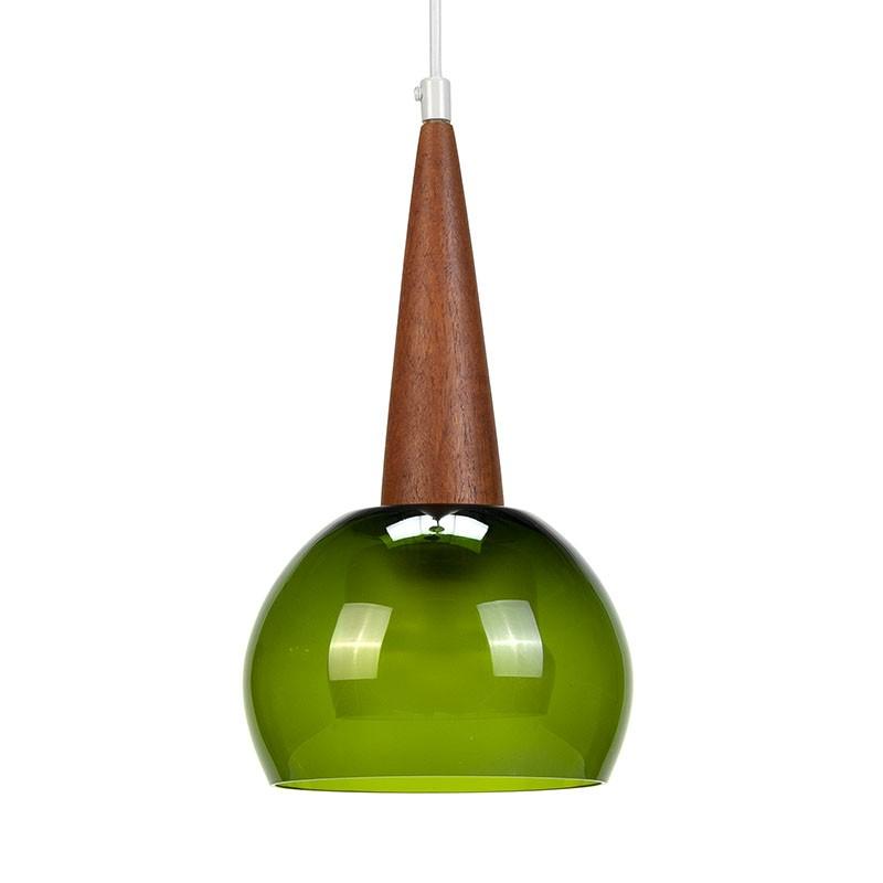 Groen glazen vintage hanglamp met teak detail