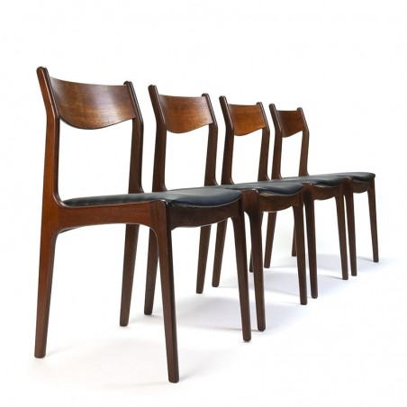 Vintage Danish set of 4 dining table chairs in teak