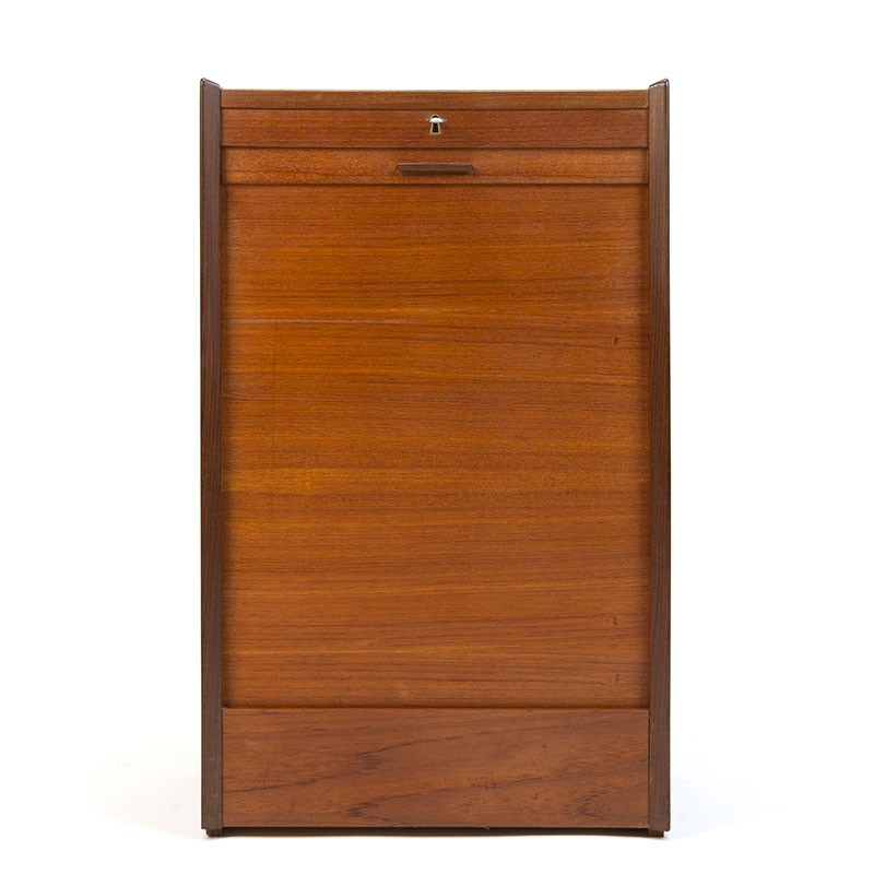 Narrow model vintage Danish teak filing cabinet