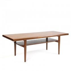 Langwerpige vintage Deense design salontafel in teak
