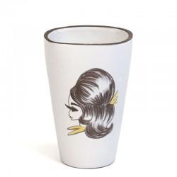 Vintage vaas met dame jaren zestig