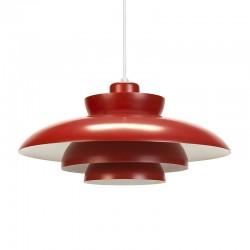 Red Penta vintage F&M hanging lamp design Jo Hammerborg