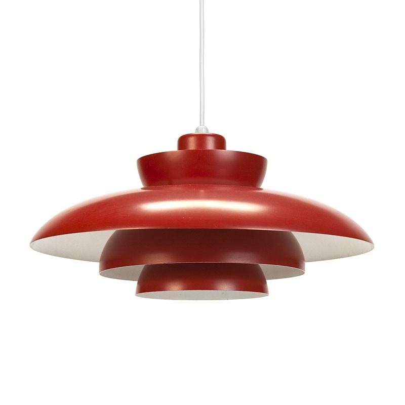 Rode Penta vintage F&M hanglamp ontwerp Jo Hammerborg