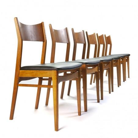 Set van 6 Deense vintage eettafel stoelen met teakhouten rug