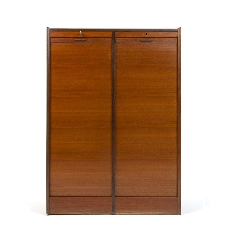 Double model vintage teak Danish filing cabinet