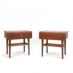 Danish set of vintage bedside tables with curved teak