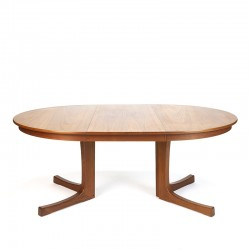 Danish vintage extendable round / oval dining table in teak