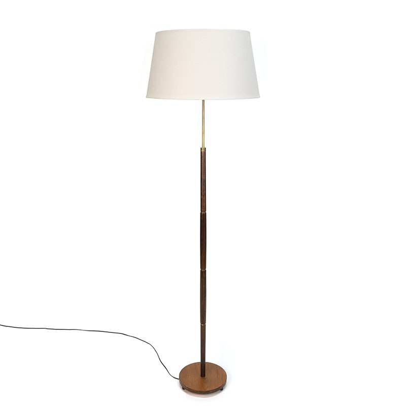 Deense vintage vloerlamp van palissanderhout en messing