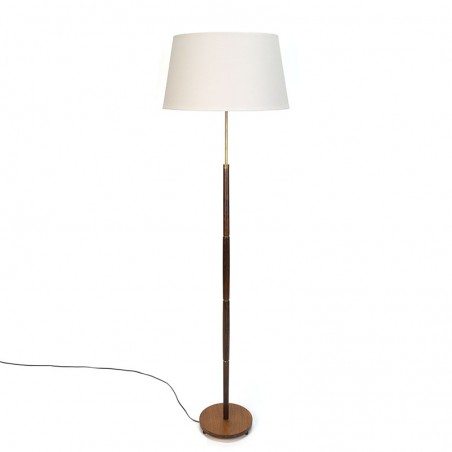 Danish vintage rosewood and brass floor lamp