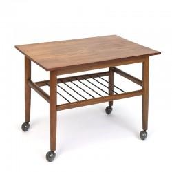 Danish teak vintage side table on wheels