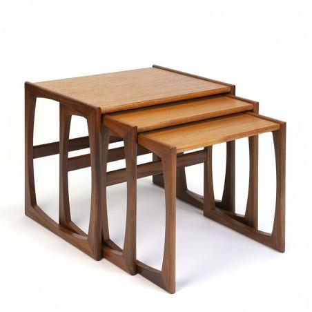 Teakhouten vintage Gplan nesttafels set van 3