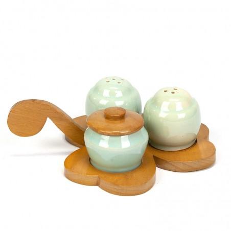 Vintage pottery pepper, salt and mustard set