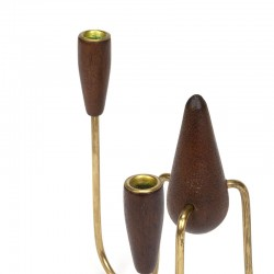 Vintage Danish candlestick in teak and brass