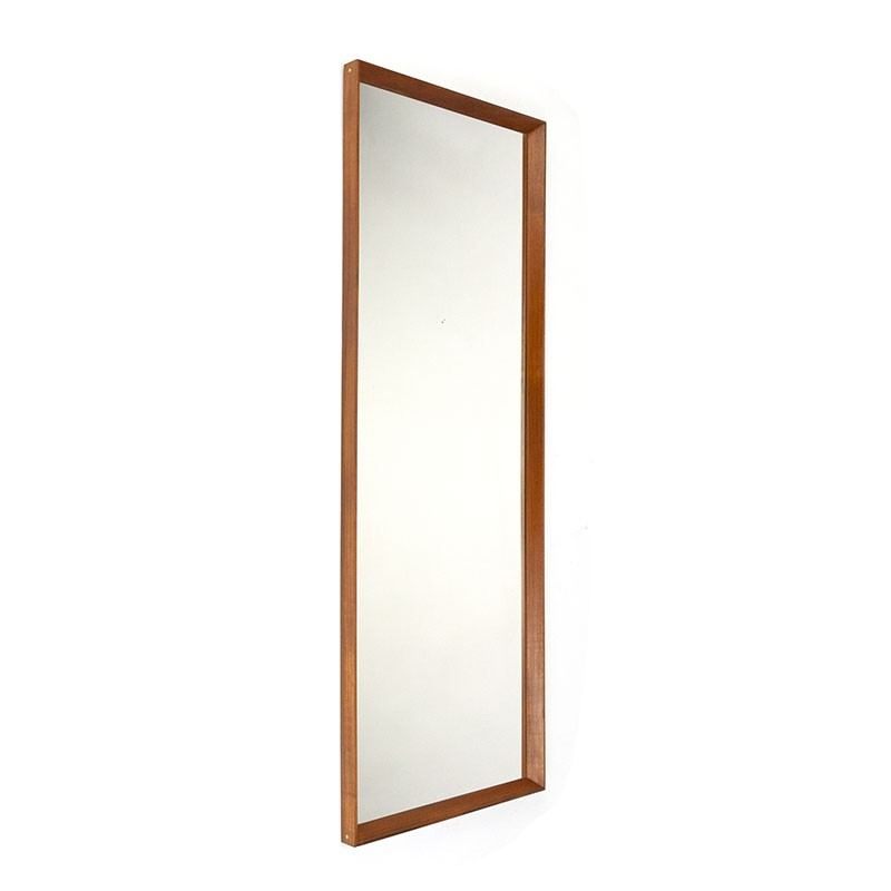 Large Danish vintage mirror in teak with small brass detail
