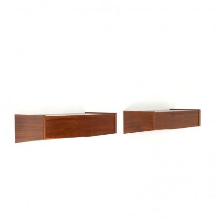 Set of Danish vintage wall bedside tables with drawer in teak