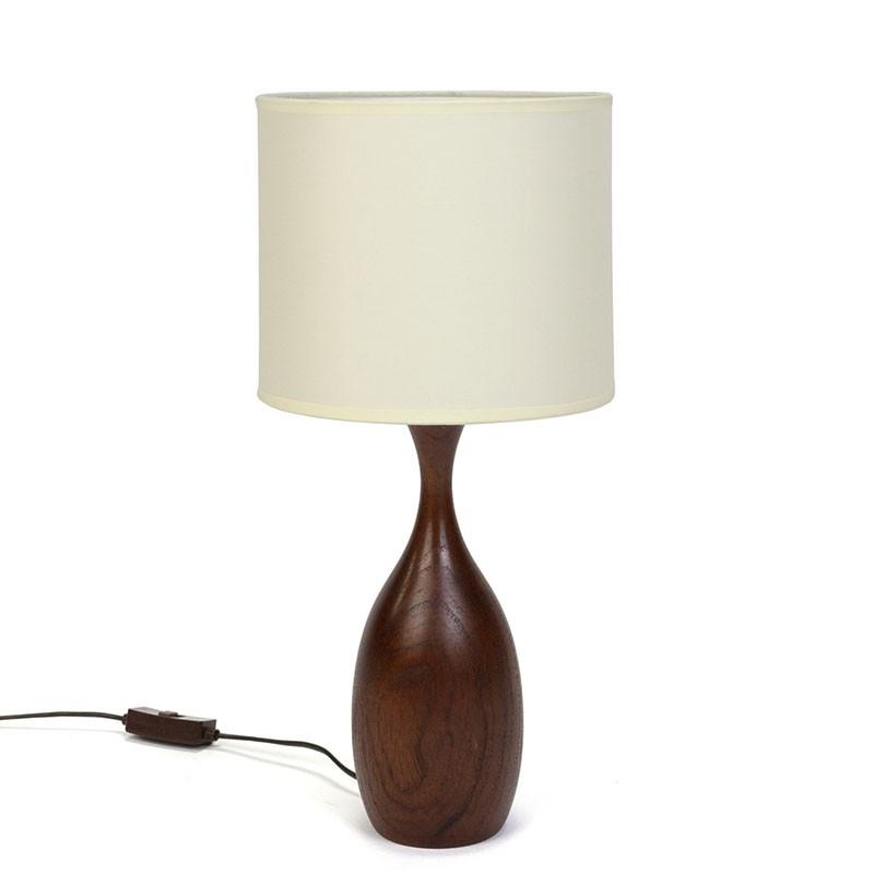 Deense teakhouten tafellamp vintage vijftiger jaren
