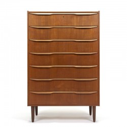 Tall Danish vintage chest of drawers with 7 drawers