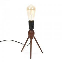 Deens vintage tafellampje op 3-poot in teakhout