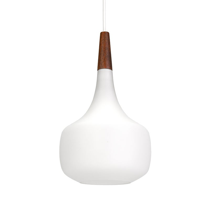 Danish vintage opaline glass pendant lamp from Holmegaard